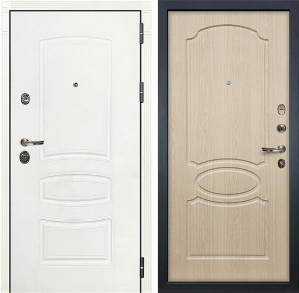 Входная дверь Лекс Сенатор 3К Шагрень белая (№14 Дуб беленый)