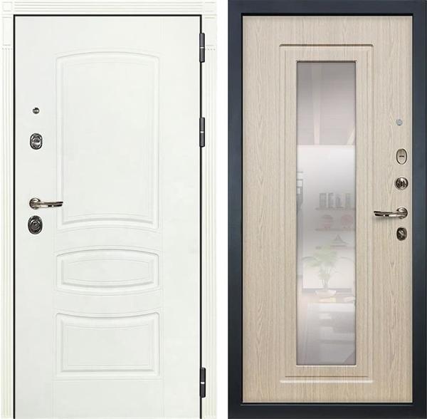 Входная дверь Лекс Сенатор 3К Шагрень белая с Зеркалом (№23 Дуб беленый)