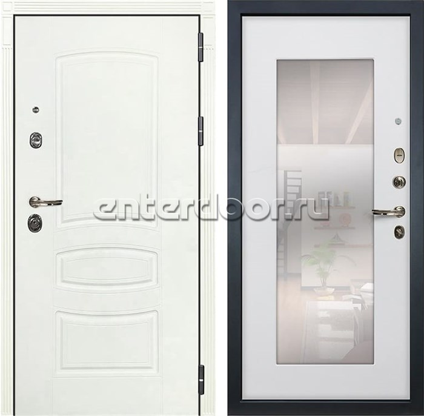 Входная дверь Лекс Сенатор 3К Шагрень белая с Зеркалом (№37 Ясень белый)