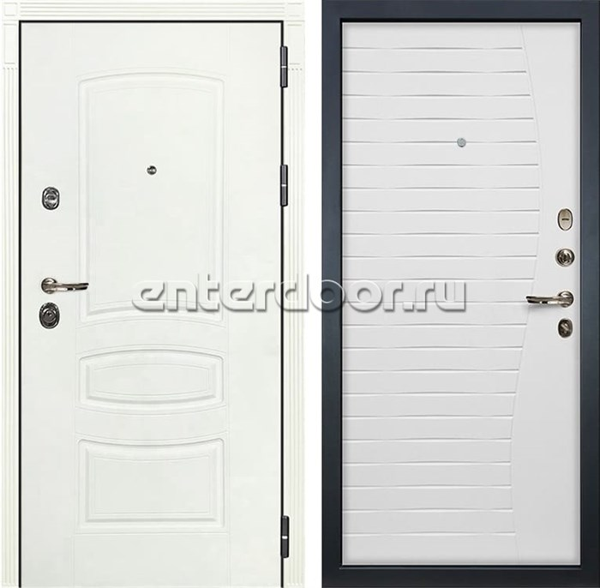 Входная дверь Лекс Сенатор 3К Шагрень белая (№36 Ясень белый)
