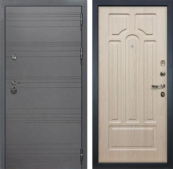Входная дверь Лекс Сенатор 3К Софт графит (№25 Дуб беленый)