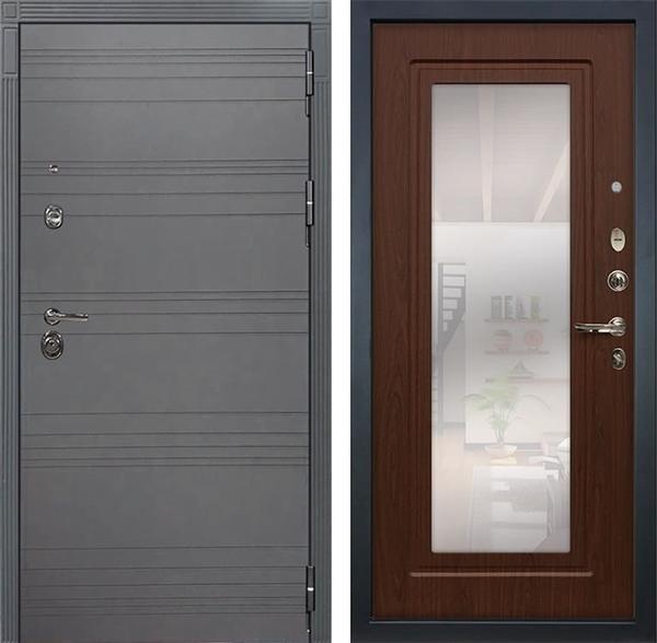 Входная дверь Лекс Сенатор 3К Софт графит с Зеркалом (№30 Береза мореная)