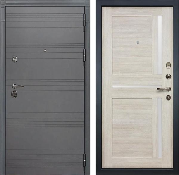 Входная дверь Лекс Сенатор 3К Софт графит Баджио (№49 Ясень кремовый)