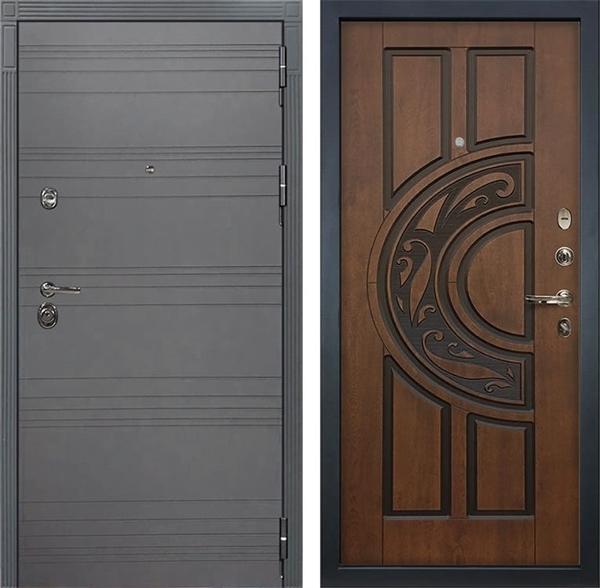 Входная дверь Лекс Сенатор 3К Софт графит (№27 Голден патина черная)