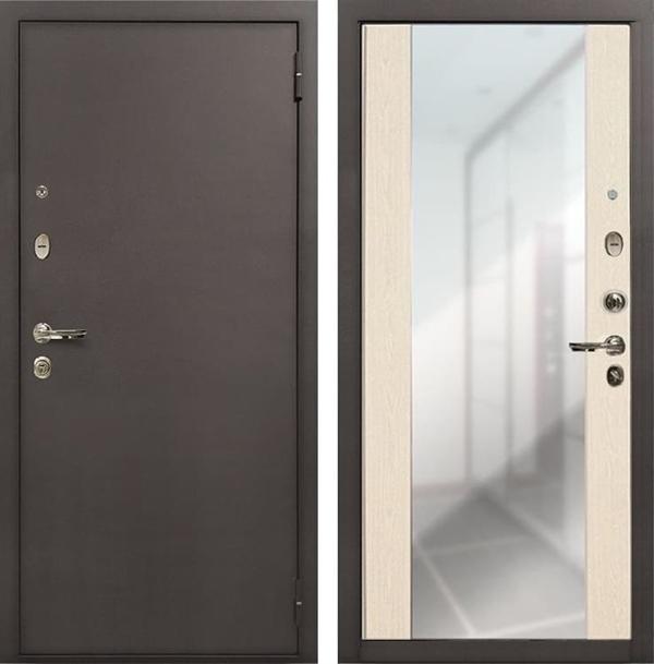 Входная стальная дверь Лекс 1А Стиль с Зеркалом (№45 Дуб беленый)