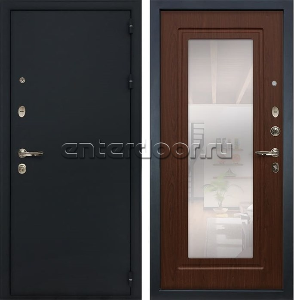 Входная металлическая дверь Лекс 2 Рим с Зеркалом Береза мореная (панель №30)