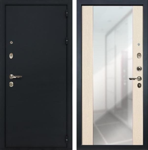 Входная металлическая дверь Лекс Рим Стиль с зеркалом Дуб беленый (панель №45)