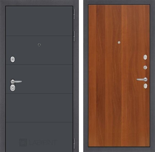 Входная металлическая дверь Лабиринт Арт 5 (Графит софт / Итальянский орех)
