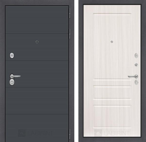 Входная металлическая дверь Лабиринт Арт 3 (Графит софт / Сандал белый)