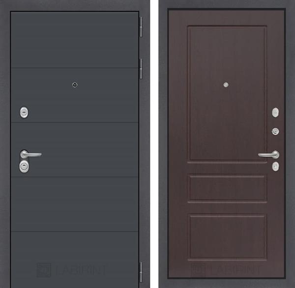 Входная металлическая дверь Лабиринт Арт 3 (Графит софт / Орех премиум)