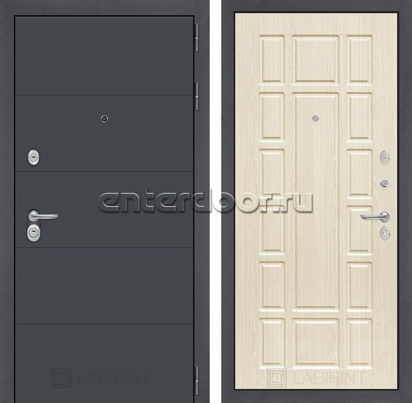 Входная металлическая дверь Лабиринт Арт 12 (Графит софт / Дуб беленый)
