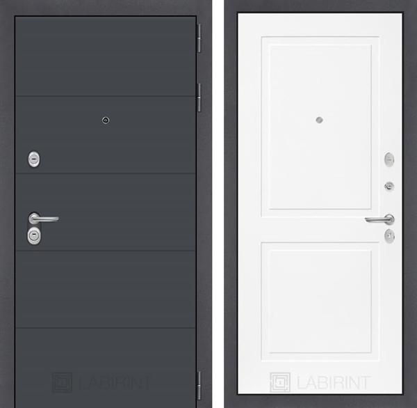 Входная металлическая дверь Лабиринт Арт 11 (Графит софт / Белый софт)