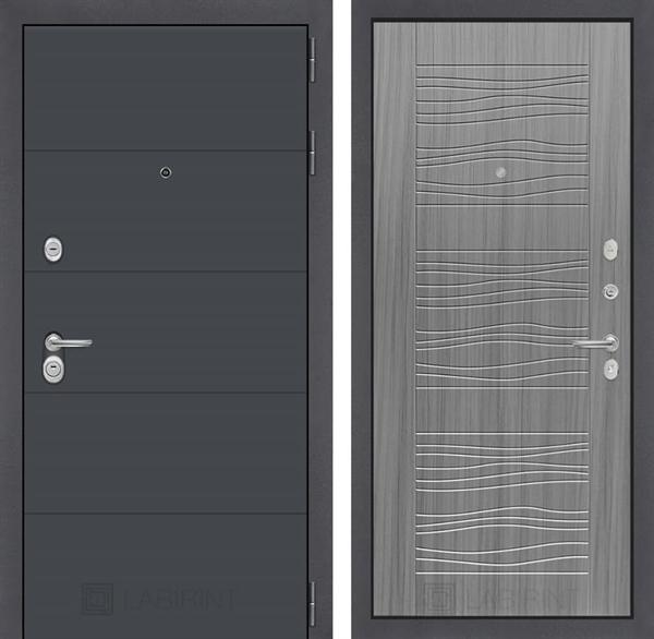 Входная металлическая дверь Лабиринт Арт 6 (Графит софт / Сандал серый)