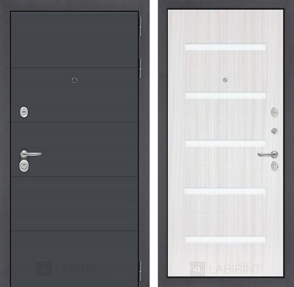 Входная металлическая дверь Лабиринт Арт 1 (Графит софт / Сандал белый)