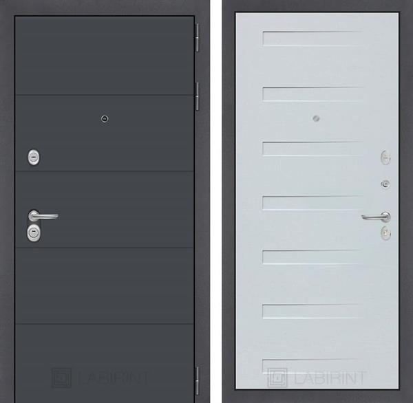 Входная металлическая дверь Лабиринт Арт 14 (Графит софт / Дуб кантри белый)