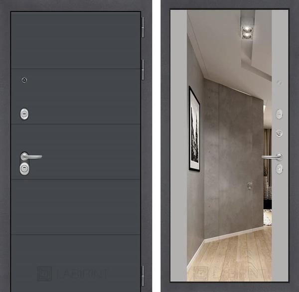 Входная дверь Лабиринт Арт с Зеркалом Максимум (Графит софт / Грей софт)