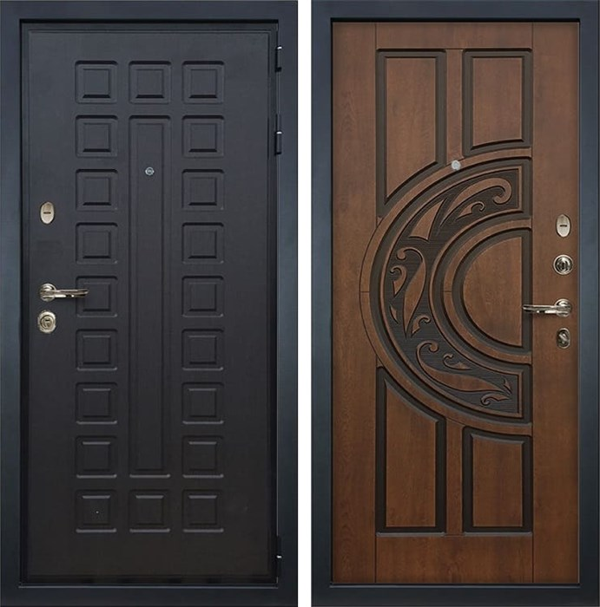 Входная металлическая дверь Лекс Гладиатор 3К Голден патина черная (панель №27)