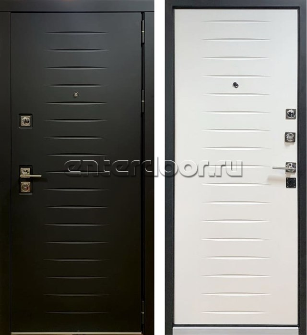 Входная металлическая дверь Персона Гранд-2 (Черный Софт / Белый Софт)