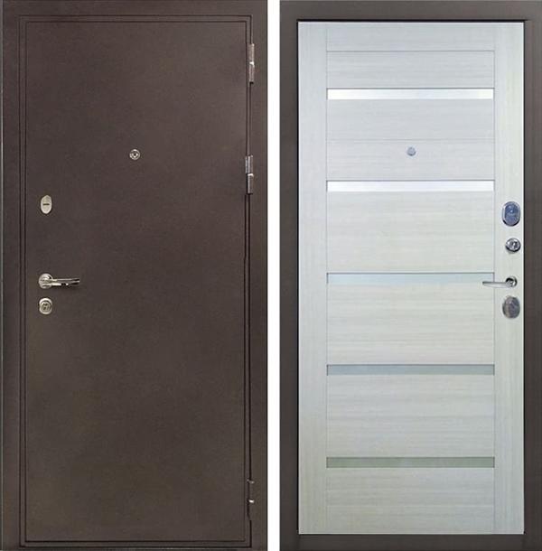 Входная металлическая дверь Лекс 5А Цезарь Клеопатра-2 Дуб беленый (панель №58)