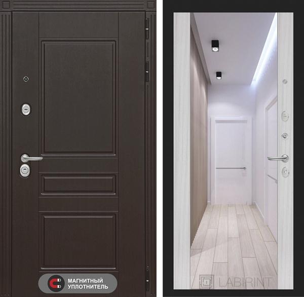 Входная металлическая дверь Лабиринт Мегаполис с Зеркалом Максимум (Венге / Сандал белый)