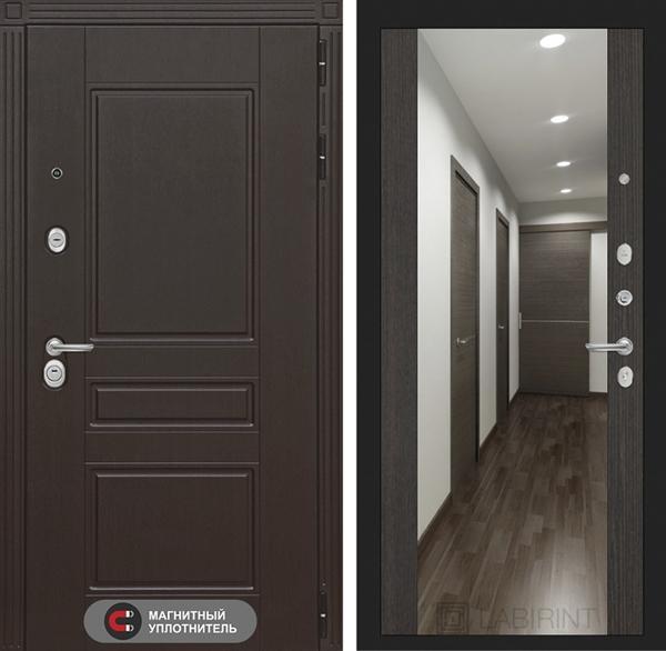 Входная металлическая дверь Лабиринт Мегаполис с Зеркалом Максимум (Венге / Венге)
