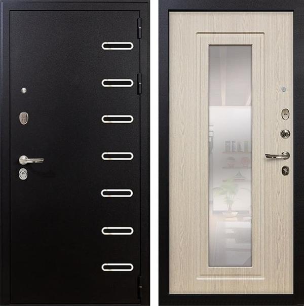 Входная металлическая дверь Лекс Витязь с Зеркалом Дуб беленый (панель №23)