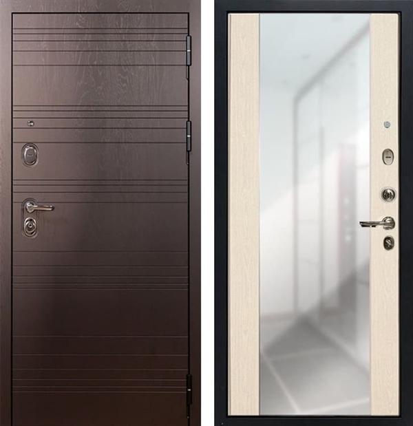 Входная дверь Лекс Легион Стиль с Зеркалом Дуб беленый (панель №45)