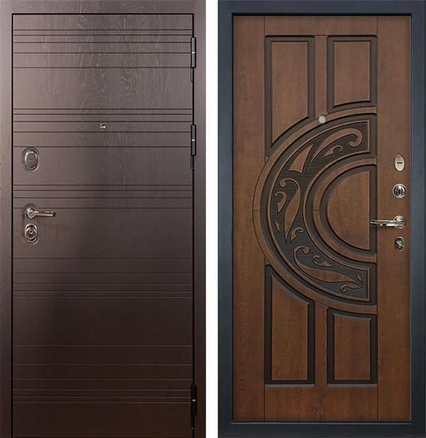 Входная металлическая дверь Лекс Легион Голден патина черная (панель №27)