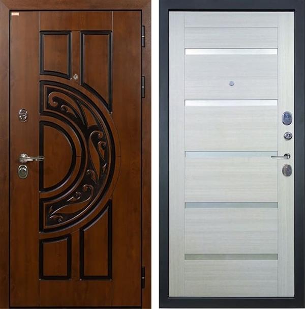 Входная металлическая дверь Лекс Спартак Cisa Клеопатра-2 Дуб беленый (панель №58)