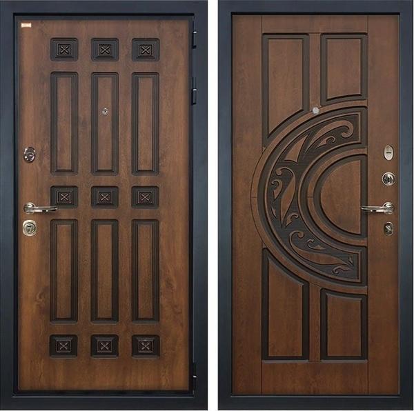 Входная дверь Лекс Гладиатор 3К Винорит Голден патина черная (панель №27)