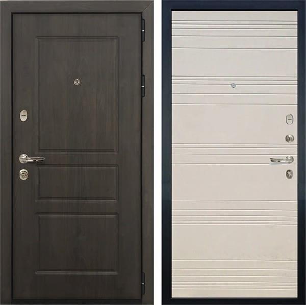 Входная стальная дверь Лекс Сенатор Винорит Дуб фактурный кремовый (панель №63)