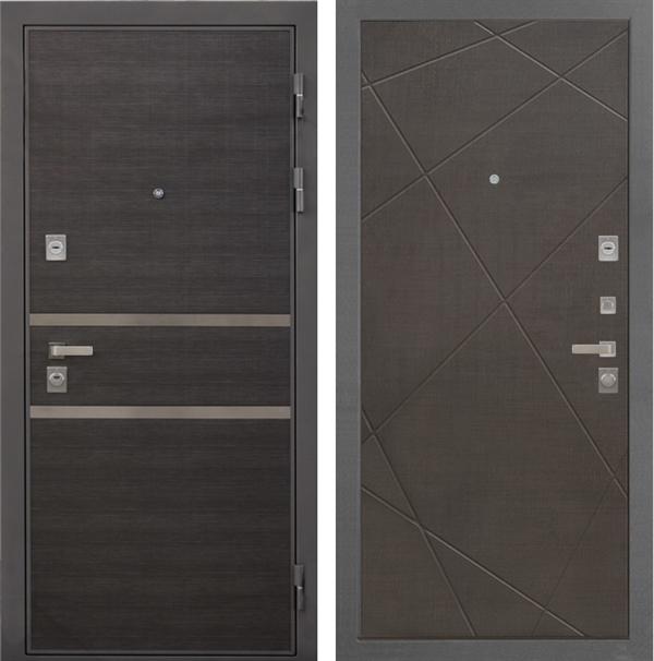 Входная металлическая дверь Интекрон Неаполь Лучи-М (Лен Сильвер / Венге распил кофе)