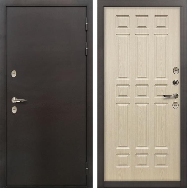 Входная дверь с терморазрывом Лекс Термо Сибирь 3К Беленый дуб (панель №28)