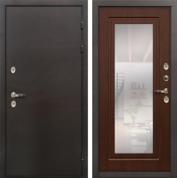 Дверь с терморазрывом Лекс Термо Сибирь 3К с Зеркалом Береза мореная (панель №30)
