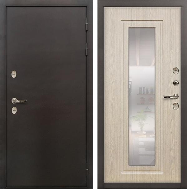 Дверь с терморазрывом Лекс Термо Сибирь 3К с Зеркалом Беленый дуб (панель №23)