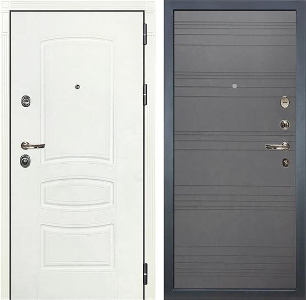 Входная дверь Лекс Сенатор 3К Шагрень белая (№70 Графит софт)