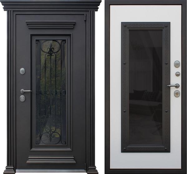 Входная уличная дверь АСД Гранд Люкс с окном и ковкой (Роял Вуд Кофе)