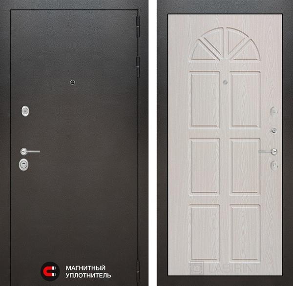 Входная металлическая дверь Лабиринт Сильвер 15 (Антик темное серебро / Алмон 25)