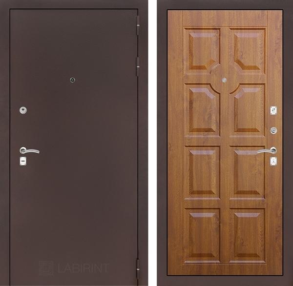 Входная металлическая дверь Лабиринт Классик 17 (Антик медный / Золотой дуб)