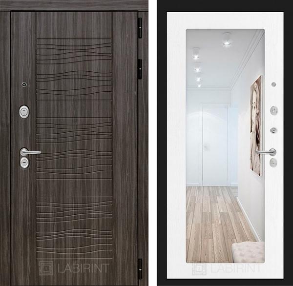 Входная дверь Лабиринт Сканди с Зеркалом 18 (Дарк Грей / Белое дерево)