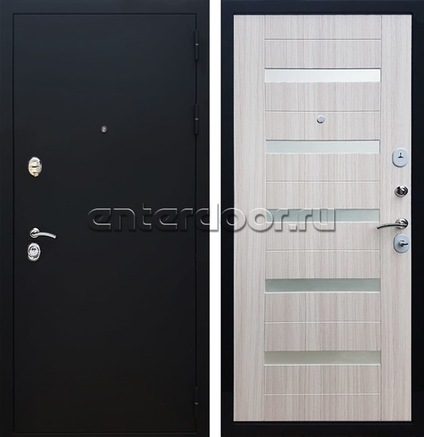 Входная металлическая дверь Армада 5А СБ-14 Стекло белое (Черный муар / Сандал белый)