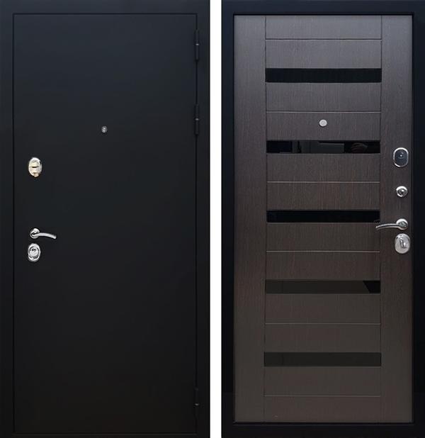 Входная металлическая дверь Армада 5А СБ-14 Стекло черное (Черный муар / Венге)