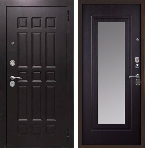 Входная металлическая дверь Кватро с Зеркалом (Венге / Венге)