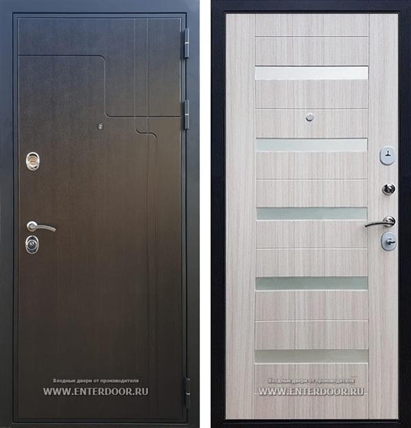 Входная металлическая дверь Армада Премиум 246 СБ-14 (Венге / Сандал белый) вставки стекло белое
