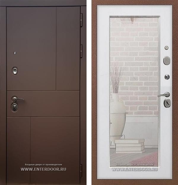 Входная дверь Армада Урбан с Зеркалом Пастораль (Ясень шоколадный / Белый ясень)
