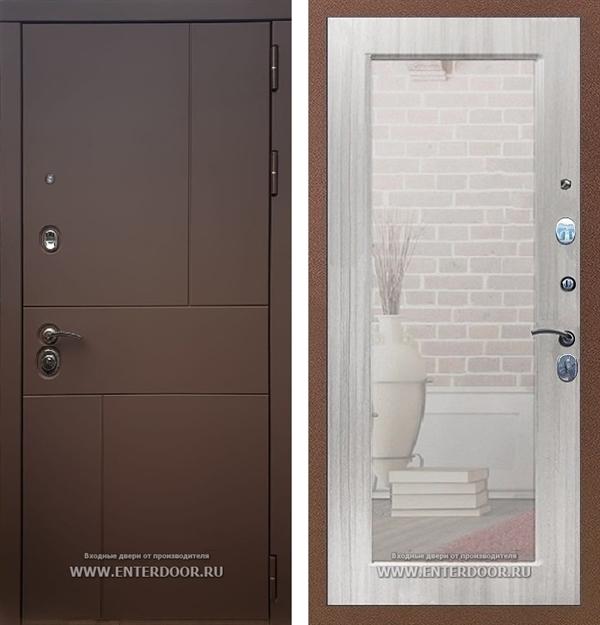 Входная дверь Армада Урбан с Зеркалом Пастораль (Ясень шоколадный / Сандал белый)