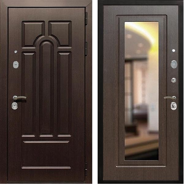 Входная металлическая дверь Армада Эврика 3К с Зеркалом (Венге / Венге)