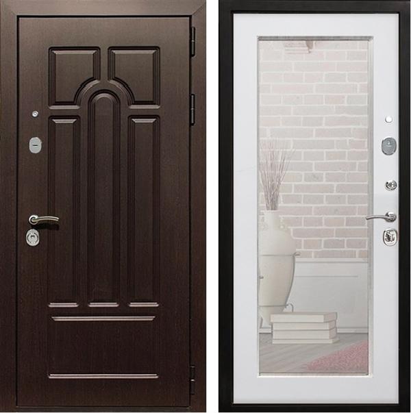 Входная металлическая дверь Армада Эврика 3К с Зеркалом Пастораль (Венге / Ясень белый)