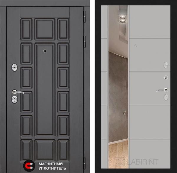 Входная дверь Лабиринт Нью-Йорк с Зеркалом (Венге / Грей софт)