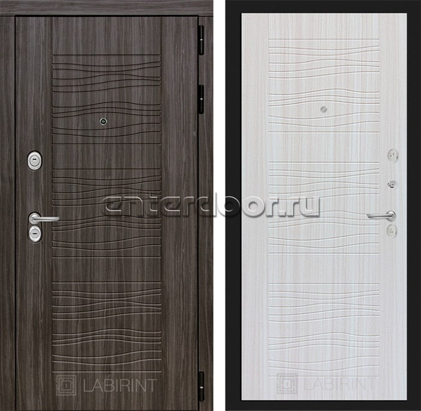Входная металлическая дверь Лабиринт Сканди 6 (Дарк Грей / Сандал белый)